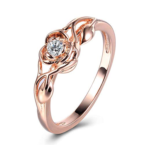 MANXUEUP Ring Fashion Flower Rings for Women Rose Gold Ring for Women Fashion Wedding Finger Bands Engagement Jewelry Accessories,9 (Womens Hochzeit Band Rose Gold)