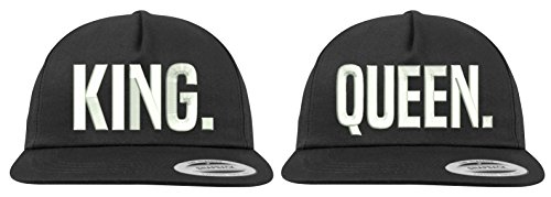Youth Designz Baseball Kappe Snapback Cap Modell King & Queen, Schwarz