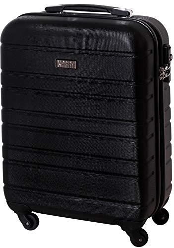 Karry Handgepäck Bordgepäck Hartschalen Koffer für Kurzreisen Urlaub Reisen Businesskoffer Trolley Case TSA Schloss 30 Liter Schwarz 815 B