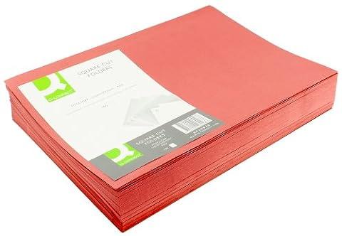 Q Connect Lot de 100 chemises légères en papier ministre de 180 g/m², angles droits, Rouge
