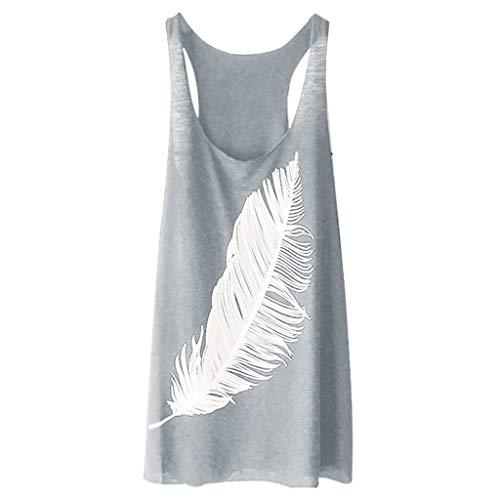 gsgeschenkÜbergröße Tops Damen Sommer T Shirt Mädchen Täglich Federdruck Lange Weste Persönlichkeit Bluse Lose Top S-5XL(Grau,XXL) ()