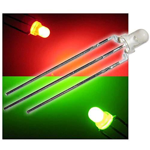50 Duo Color LEDs 3mm diffus rot-grün LED 3-polig
