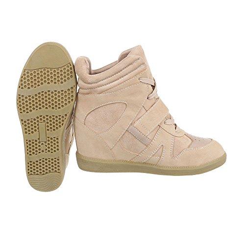 Sneakers Ital-design Alte Scarpe Da Donna Sneakers Alte Zeppa / Zeppa Zeppa Scarpe Con Cerniera Lampo Beige
