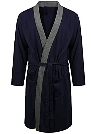 Mens Dressing Gown Lighweight 100 Pure Cotton Jersey