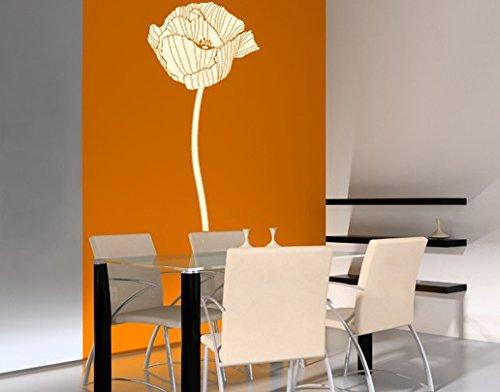 Adesivo da parete No. UL84Poppy 1Pianta Fiori Primavera Papavero Pianta, 021 giallo, 250x85