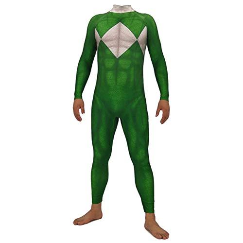 Kinder Kostüm Grün Ranger - FHTD Rangers Cosplay Kostüm Kinder Erwachsene Weihnachten Halloween Show Kostüm Kleidung Superheld Body Overalls,Grün,Childs