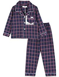 Pijamas dos piezas Pijamas Pajama Boy Full Lenth Ropa de Dormir Pijamas de algodón a Cuadros