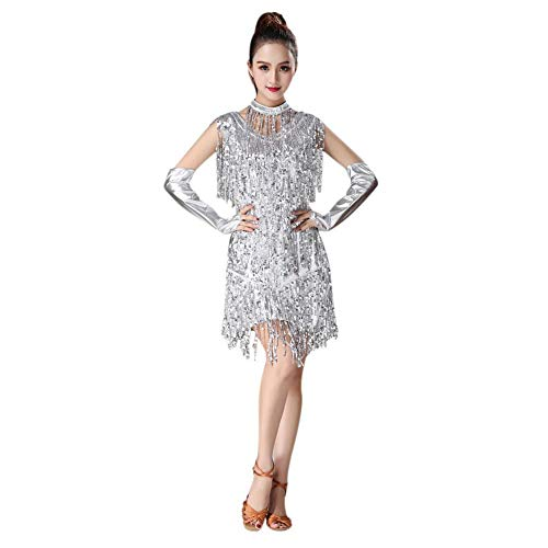 Gyratedream Latin Kleider Damen Wettbewerb Kostüme Pailletten Quaste Kleid Ballsaal Salsa Samba Rumba Karneval Tanzen Kleidung (Ballsaal Tanz Kostüm Tango)