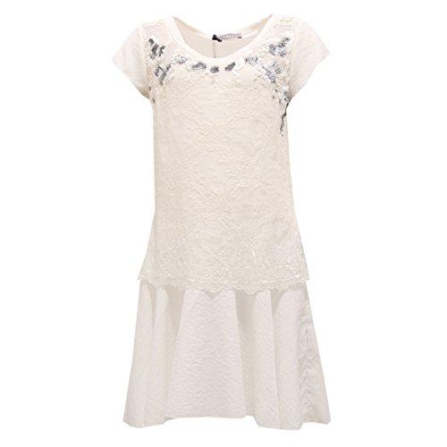 8731R vestito bimba ERMANNO SCERVINO JUNIOR abito bianco/grigio dress kid [10 YEARS]