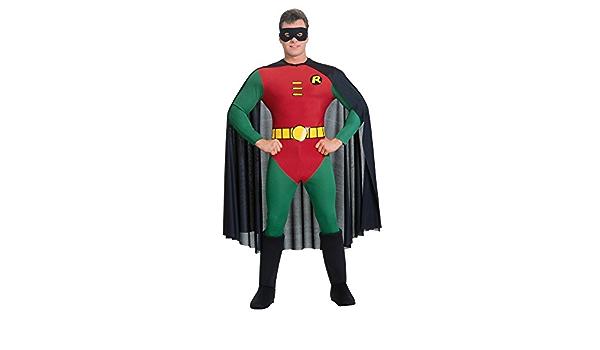 Mens Boys Ladies Robin Batman Hero 2nd Skin Jumpsuit Fancy Dress Costume Outfit