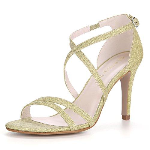 Allegra K Damen leuchtendes Design Stöckelabsatz hohe Hacke Schnuerschuh Sandale, Gold/EU 37.5