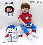 ZIYIUI Reborn Baby Doll 24 inch 60 cm Bambole Reborn Realistico Bambino Neonatale Simulazione Morbido Silicone Vinile Toddler Babies Bambola Reborn Maschio Regalo Giocattoli Magnetico
