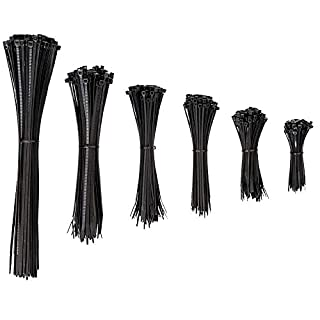 djb Profi Kabelbinder Set, 600 Stück, schwarz, Industrie-Qualität, 100% EU-Ware, Sortiment 75/100/135/160/200/290 mm