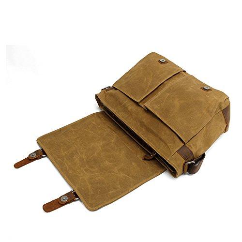 KIPTOP Wasserdicht Umhängetasche Vintage Canvas Leder Messenger Bag Aktentasche Schultertasche 16 Zoll Laptoptasche Notebooktasche aus Canvas und Leder (Klassischer Stil: Khaki) Wasserdichte Leinwand: Khaki