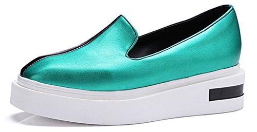 Aisun Damen Modisch Kontrastfarben Durchgängiges Plateau Ohne Verschluss Sneaker Grün