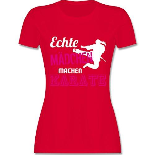 Kampfsport - Echte Mädchen Machen Karate - S - Rot - L191 - Damen T-Shirt Rundhals