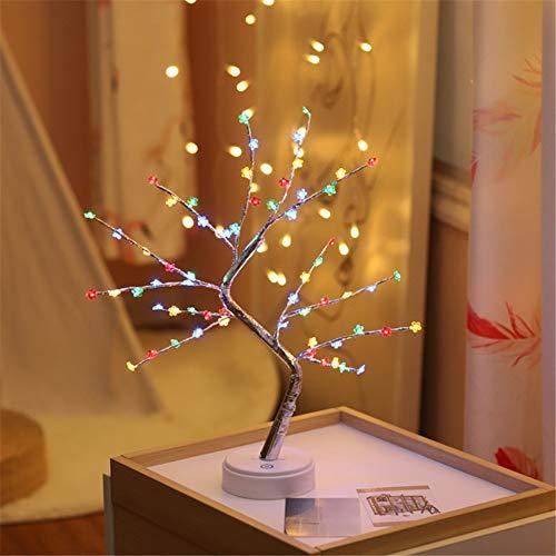 HMLIGHT 60 LED USB-Star/Schnee/Blumen Baum-Nachtlicht Kupferdraht Tischlampe für Partyraum Ferien Fee Dekoration Licht,Colorfulplumflower