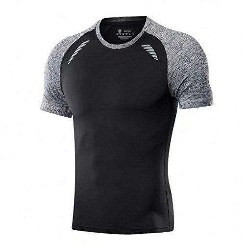 Wenyujh T-shirt Sports Homme Elastique Slim Collant Séchage Rapide Respirant Gym Musculation Jogging Fitness (noir, Tag L(FR 46))
