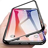 Axxeum 360 Degree Magnetic Adsorption Metal Bumper Tempered Glass Clear Shockproof Full Cover Case For IPhone 7 Plus & IPhone 8 Plus - Black Rim