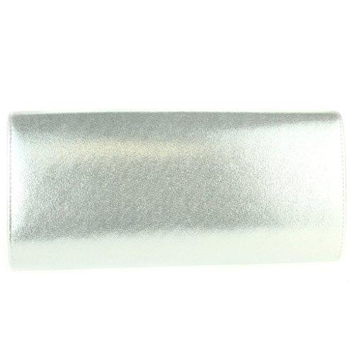 Donna Signore Shimmer Cristallo Spilla Diamante Dettaglio Lucido Sera Sposa Matrimonio Prom Partito Frizione Cristallo Borsa Borsetta Argento