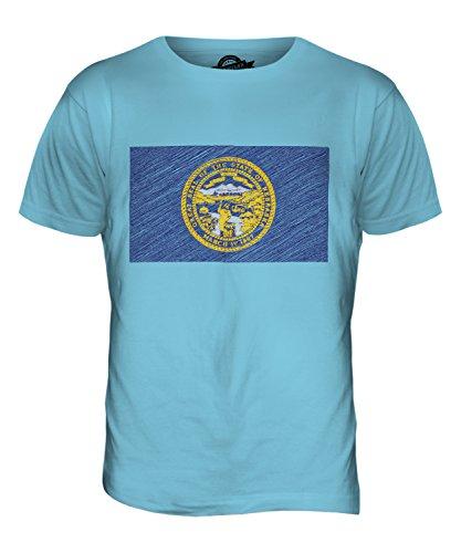 CandyMix Nebraska State Bandiera Scarabocchio T-Shirt da Uomo Maglietta Azzurro Cielo