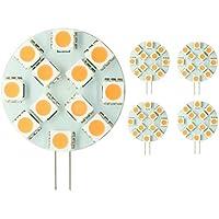 LIGHTEU, 5 x 3W Ampoules LED Super Lumineuse avec 9 SMD 5050, Prise G4/GU4, AC 12V / DC 10 - 30V, Couleur de la Lumière: Blanc Chaud [Classe énergétique A++]