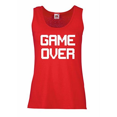 Serbatoio femminile Game Over regali gamer divertenti (Small Rosso Bianco)