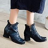 BeatinToes Retro Schuhe Leder Handarbeit Short Martin Schuhe High Heels'S Seitlichem Reißverschluss Wasserdicht Plattform Spitze Frauen Schuhe, Rock Rot, 38