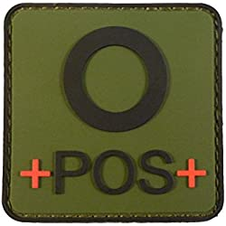 2AFTER1 Olive Drab OD Green OPOS O+ Blood Type Tactical Combat PVC Rubber 3D Fastener Patch