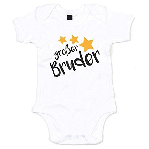 Baby Body - Großer Bruder - Sterne - von SHIRT DEPARTMENT, weiss-schwarz, 68-80