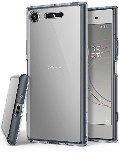 Ringke Coque Sony Xperia XZ1, [Fusion] Bumper en TPU avec Dos Crystal Transparent [Protection Contre Les Chutes/Technologie d'absorption des Chocs] Étui de Protection pour Xperia XZ 1 - Noir Fumé