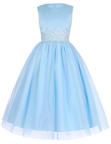GRACE KARIN Suess Aermellos Abendkleid Blau Partykleid Ballkleid 9-10 Jahre
