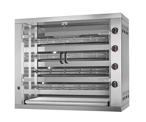 Gas Hähnchengrill PREMIUM mit 4 Spießen für 24 Hähnchen - 1190 x 480 x 1000 mm | Drehgrill | Bratengrill | Rotisserie | Spießbratengrill | Gastro