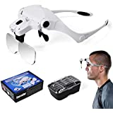Star Crafter 21–208Headset Magnifier with 2LEDs and 5detachable Lens: 1.0X, 1.5X, 2.0X, 2.5X, 3.5X