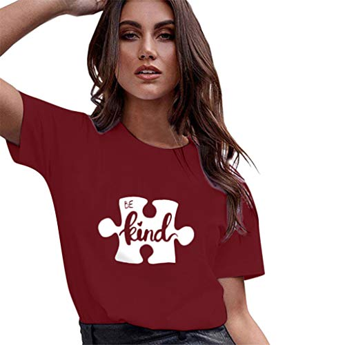 Camiseta Suelta de Manga Corta con Estampado de Ocio de...