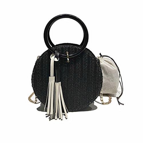 Womens Schwarzen Ratte (Frauen Runde Stroh Bag Beach Handmade Schultertasche Satchel Bag Ratten Tasche Handtaschen Schwarz)