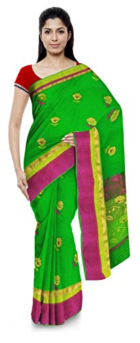 Kota Doria Sarees Handloom Women's Kota Doria Handloom Cotton Silk Saree With Blouse Piece (Green)
