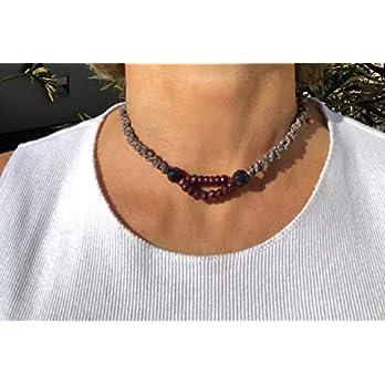 Ethnos Barcelona – Roter und schwarzer Onyx-Halsreif. Länge: 37 cm.
