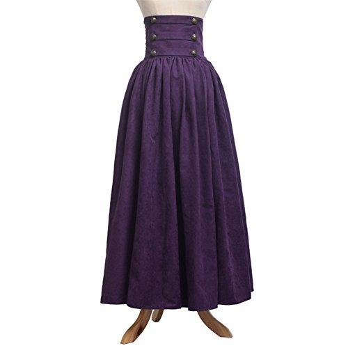 BLESSUME Gótico Lolita Steampunk Alto Cintura Para caminar Falda (Púrpura, L)