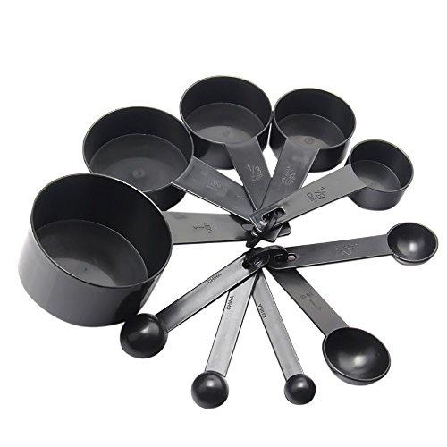 Messung 10 Pcs Kunststoff-Messen-Tasse und Löffel Set mit Loops Tools für Küche backen Kaffee schwarz (Cup-messung)