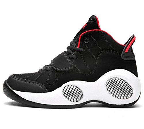 XDGG Männer Breathable Extra große dickere Bewegung Casual Running Basketball Schuhe Sneakers Outdoor Schuhe , black and red , 45 (Sneaker Männer Schuhe, Basketball)