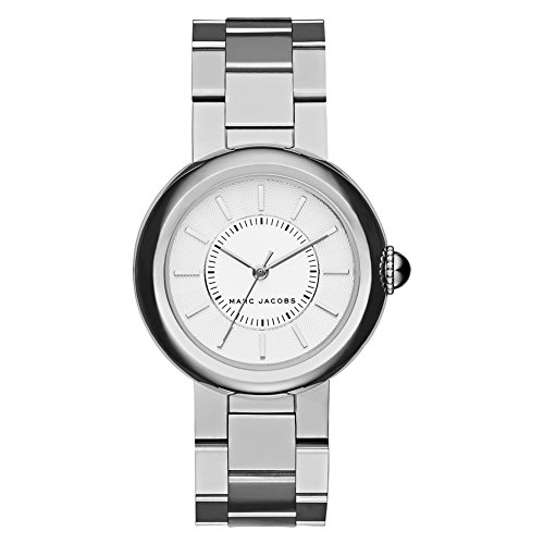 Marc Jacobs Women's Quartz Watch with Silver Dial Analogue Display and Silver Stainless Steel Bangle MJ3464