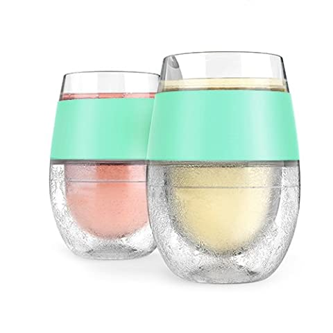 HOST Wine FREEZE Cooling Cups in Mint (Set of 2), Blue
