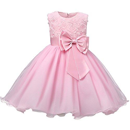 Mädchen Tüll Kinder Abendkleid Kleid mit Schleife Prinzessin Hochzeit Festkleid Pink 150