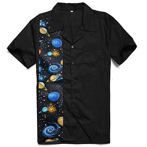 Blue sky Kurzarm-Shirt für Herren Retro Planet Space Stitching Revers Lässige geknöpfte atmungsaktive Strickjacke,Schwarz,XL