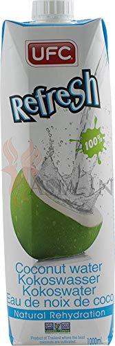 UFC Reines Kokoswasser 100% Pure Kokosnusswasser Thailand 1 Liter Coconut Water 12er Pack - Das Natürliche Kokoswasser