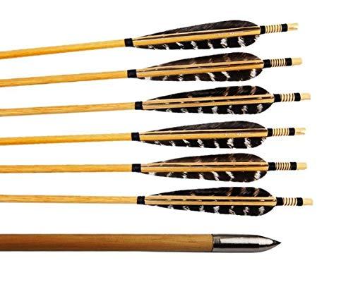 WARM ROOM Reine handgemachte Fasan-Truthahnfedern traditionelle hölzerne Schaftpfeile mit silbernem Punkt für Recurvebogen oder Langbogen-6 Pcs