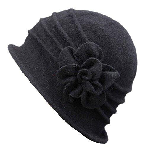 ZUMUii Butterme Damen Winter Elegante Blumen-Wool Cap Beret Mütze Cloche Bucket Hat (Schwarz#1) (Damen Fleece Cloche Hut)