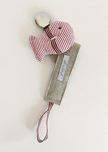 Chupetero tipo clip modelo Mediterráneo tous color rojo de ElfieFate® Algodón 100% hecho a mano artesanalmente en España . Envío Gratis!