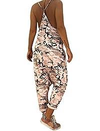Tomwell Tuta da Donna Elegante Salopette Lunga Moda Camuffamento Tasche  Ragazza Overall Baggy Jumpsuit Monopezzi Partito 8183d136c8a
